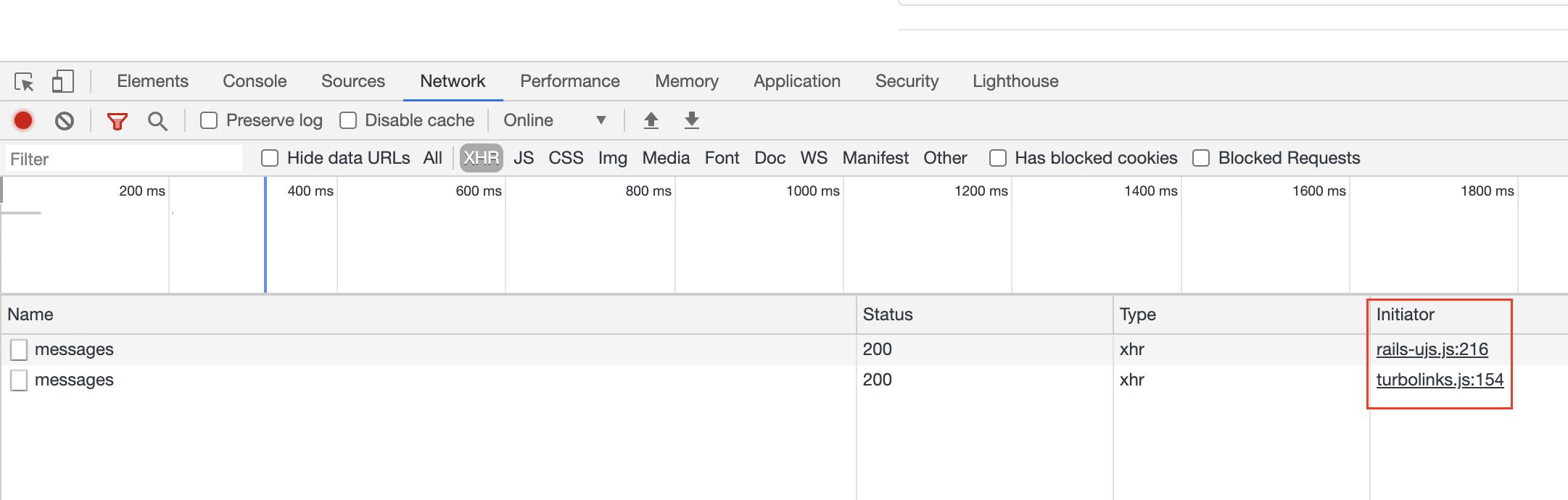 Turbolinks request screenshot